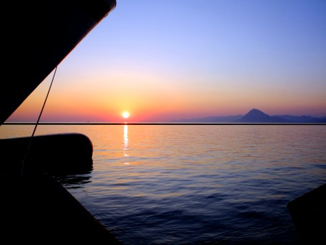 Sunset as we dock in Greece