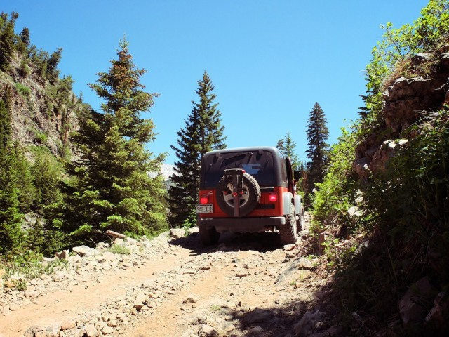 Our wheels for the day- the Rubicon easily tackled the seriously rugged trail.