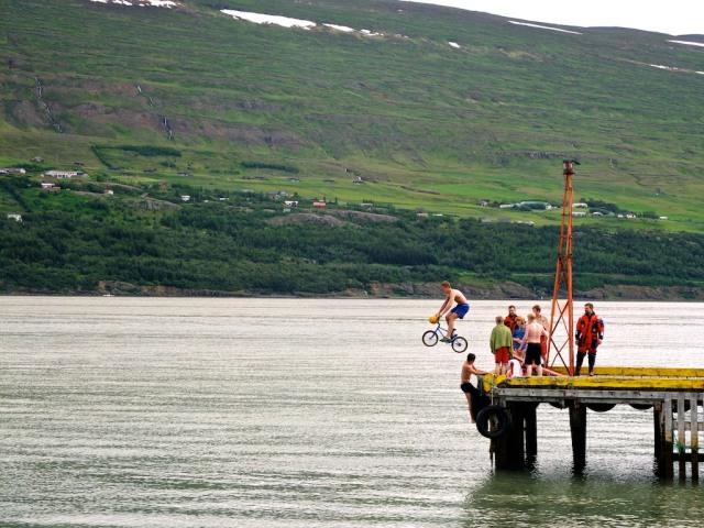 Icelandic hooligans testing the water.