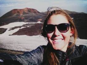 Selfie with the newest mountain in Iceland