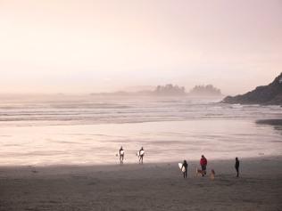 Surfers on Long Beach