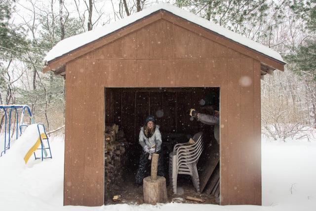 Chopping wood, Upstate New York