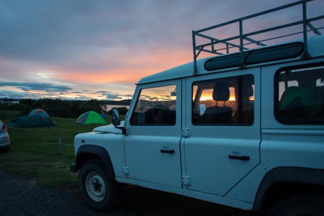 Car, Sunset Iceland