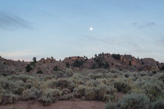 The moon over Hartman rocks