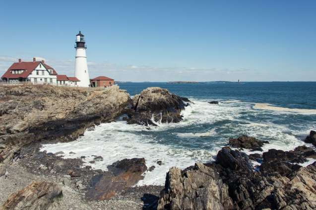 Coastal lighthouse in Portland Maine