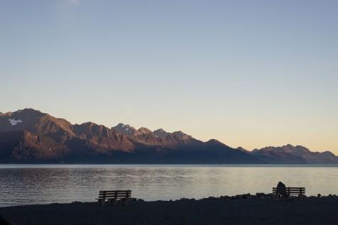 Golden light on the mountains surrounding Resurrection Bay