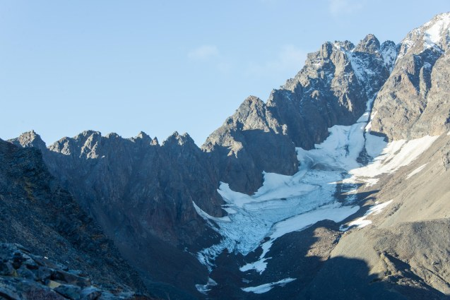 View of jagged peaks of Mt Marathon and a small glacier