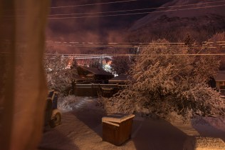 Fresh snow at night over Seward homes