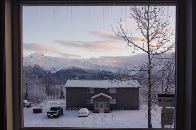 View out of a window in Seward Alaska
