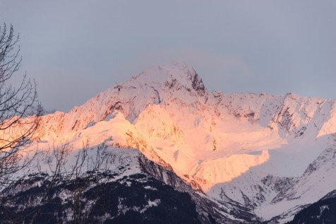 Alpine glow on snowy Mt Alice