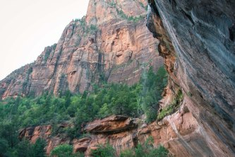 Waterfall over red rock walls in Zion