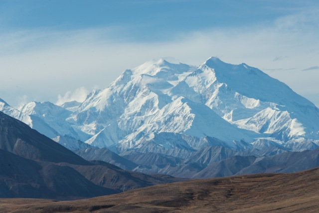 denali mountain on a clear sunny day